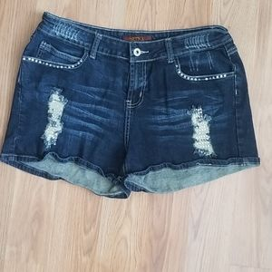 Sizzle distressed and crystal gem denim shorts